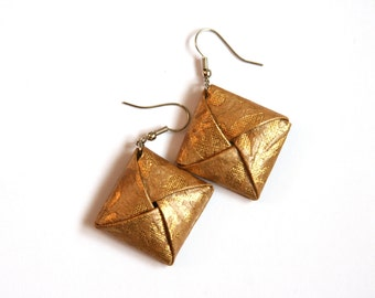 Coffee-Cream and Gold Origami Square Earrings - Paper Earrings