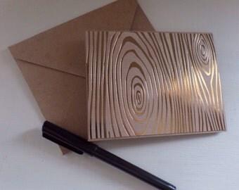 Gold wood grain blank card set, stationery set of 4