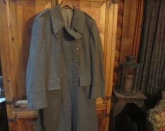 Authetic Vtg.  Full Length Swiss  Military  Duster Coat 1955 Sold As Is