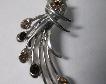 Vintage peacock bird brooch silver toned with amber crystals no markings