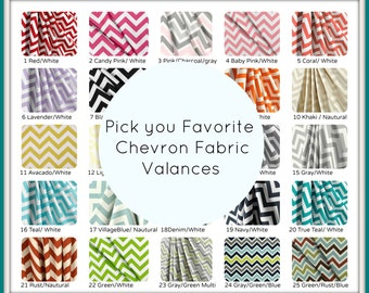 Chevron Curtain Valance , Cafe Curtain, Kitchen Valance, Nursery Decor, Chevron Home Decor, Curtain Valance
