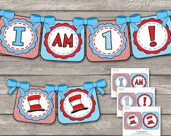 "INSTANT DOWNLOAD - The Cat's Hat / Red and Blue- ""I am 1!"" Highchair Banner - Digital Printable pdf file"