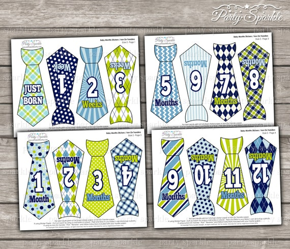 INSTANT DOWNLOAD PRINTABLE - Baby Months Tie Stickers / Iron On ...