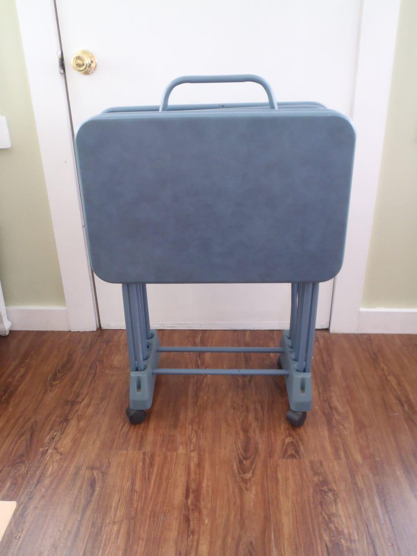 Vintage Cosco Blue TV Tray Tables Folding Snack / Dinner