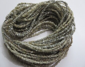 2mm to 3mm -16 inches ( 2 String ) Natural Rough Grey Uncut Diamond Beads Gemstone..