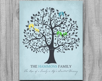 Family Tree Print, Personalized Grandparents Gift, Parents Anniversary Gift, Wall Art, Home Decor, Wedding Tree Sign gift for parents