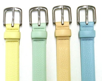 Women leather belt soft nappa leather belt in pastell and basic colors silver buckle classic elegant crafted jeans belt real leather