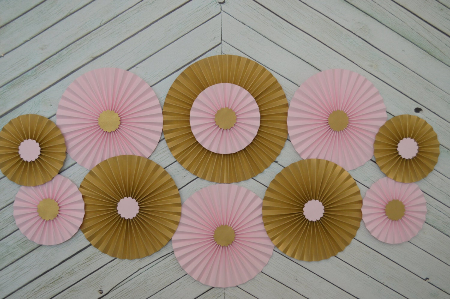 Gold Birthday Decorations Pink And Gold Set Of 11 Eleven Paper Fans Rosettes