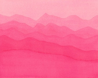 SALE. Pink abstract painting. Pink minimalism painting. Abstarct Nature art. Pink Mountains. Original Watercolor Painting. 8x10