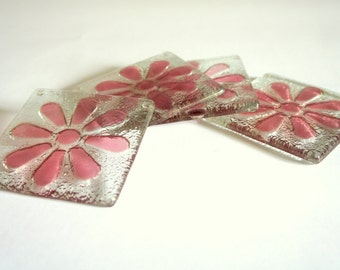 Fused Glass Cherry Flower Daisy Coasters - Set of 4