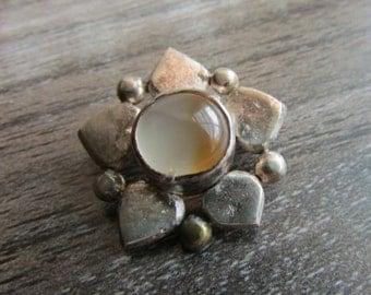 Vintage Moonstone and Sterling Flower Brooch