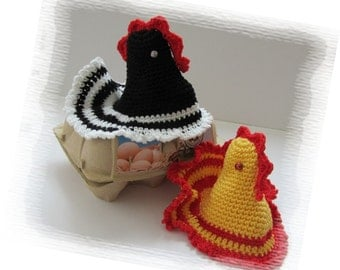 Crochet Easter egg decoration, Cozy chicken egg warmer, egg cover, DIY