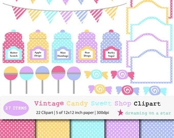 SALE Candy Clip Art, Bunting Clip Art, Candy Shop Clip Art, Candy Digital Scrapbook, Sweet Clip Art, Vintage Candy Clipart, Commercial Use