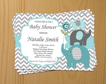 Baby Shower Invitation Elephant Baby Shower Invitation Boy Baby Shower Invitations Invites Teal (57) -Free Thank You Card - Instant Download