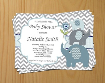 Baby Shower Invitation Elephant Baby Shower Invitation Boy Baby Shower Invitations Invites (49eb) -Free Thank You Card - Editable - Download