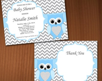 Owl Baby Shower Invitation Boy Baby Shower invitations Printable Baby Shower Invites -FREE Thank You Card - editable pdf Download (563) blue