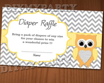 Owl Baby Shower Diaper Raffle Ticket Diaper Raffle Cards Diapers Raffles Baby Shower Games Digital Files yellow printable party decor