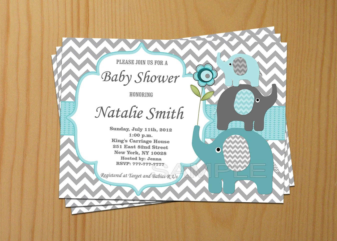 baby shower invitation elephant baby shower by diymyparty on etsy, Baby shower