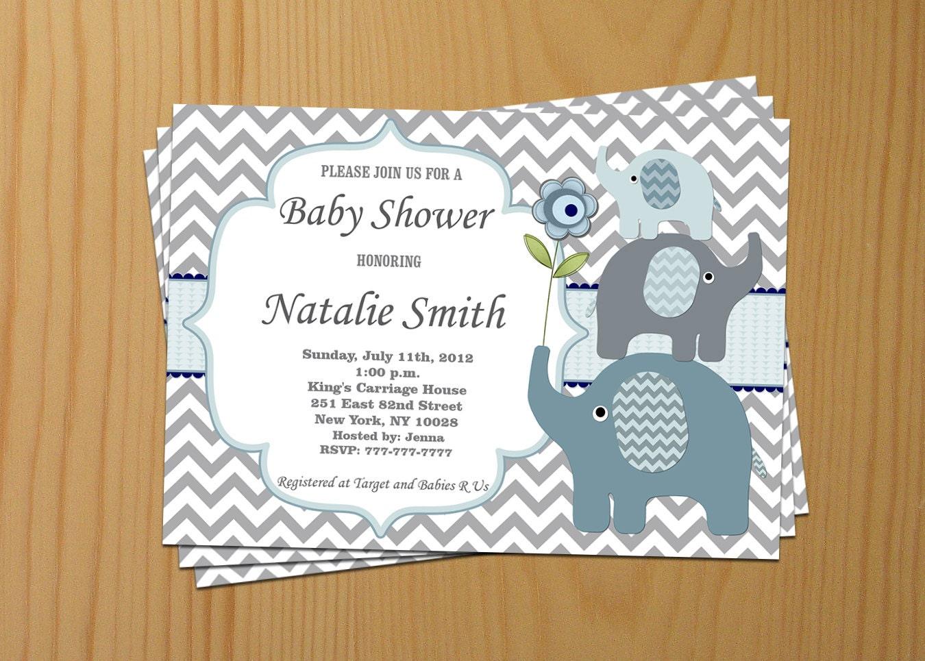 baby shower invitation elephant baby shower invitation boy