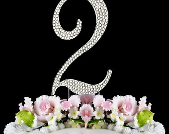 Large Rhinestone NUMBER (2) Anniversary Birthday Party Wedding Cake topper Free Shipping
