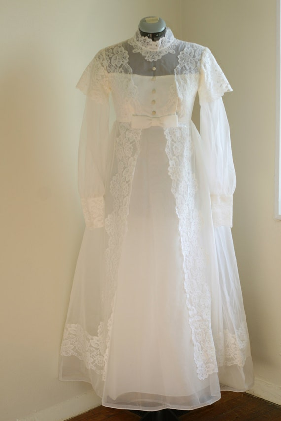 Vintage 60s wedding dress with removable train by for Vintage wedding dress 60s