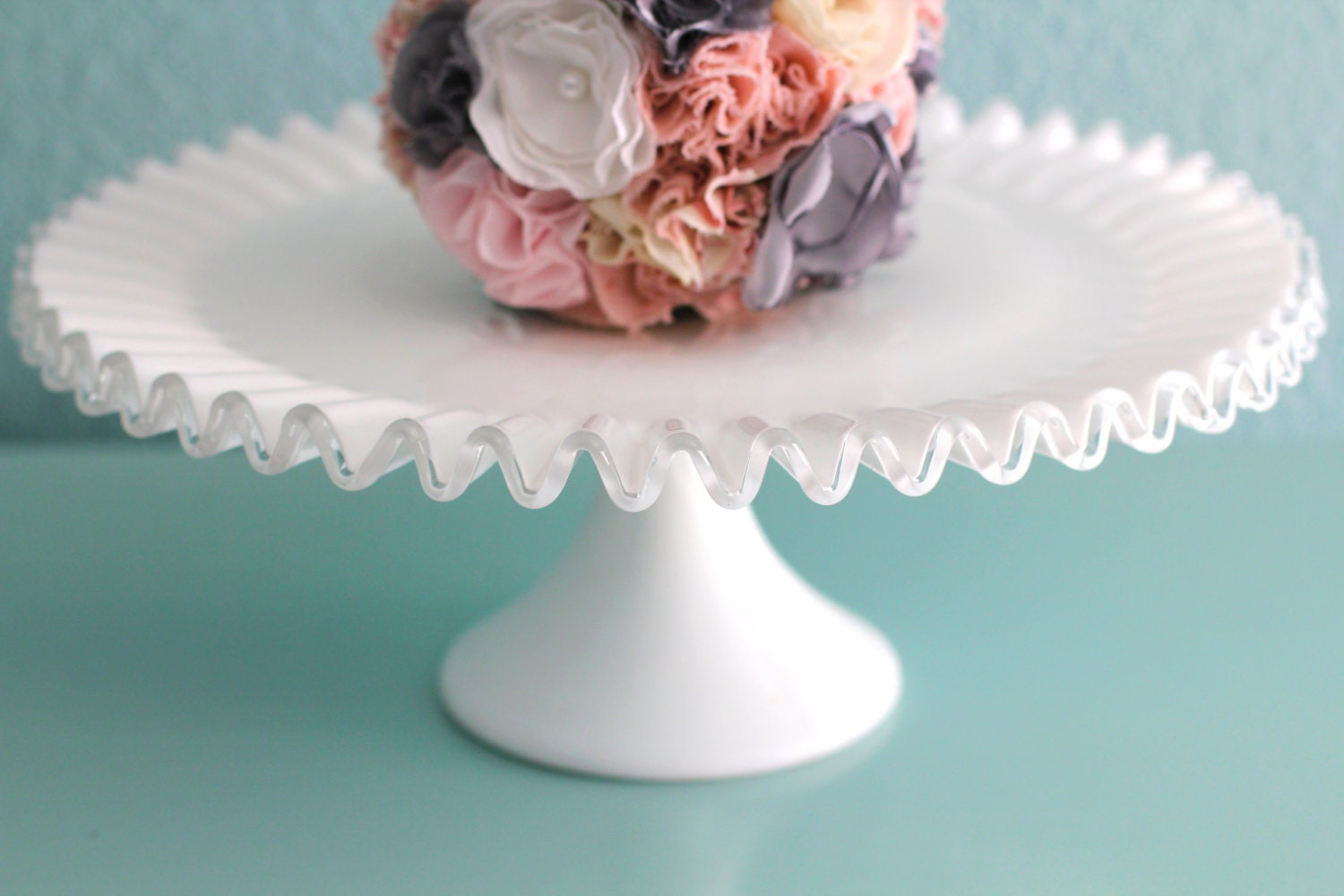 Decorative Cake Stands Milk Glass Cake Stand Fenton Silvercrest Silver Crest Ruffle