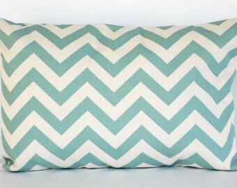 12x16 Lumbar Village Blue and Natural Zig Zag Chevron Pillow Cover Premier Prints