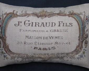 French Pillow 100% Burlap Pillow Vintage French Label Burlap Lumbar Throw Pillow Cover