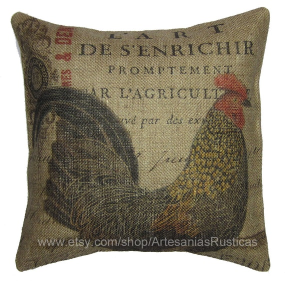 Black Rooster Throw Pillows : French Pillow 100% Burlap Pillow Black Brown Red Rooster Throw