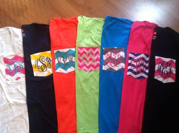 SHORT SLEEVED Personalized Monogrammed Chevron Pocket T-shirts