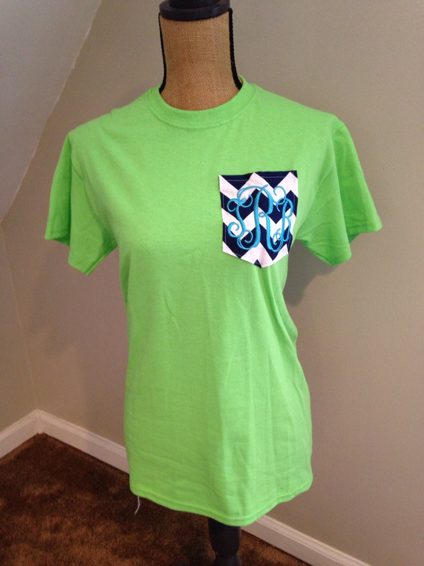 Personalized Monogrammed Chevron Pocket T Shirts By