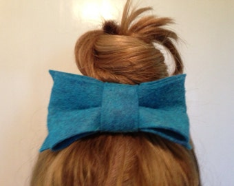 Blue Hair Bow Clip Womens Accessory Barrette