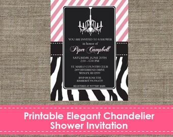 Elegant Chandelier Party Invitation - DIY - Printable