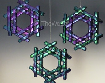 TINSEL Cool Tones Black Iridized Snowflake, Fused Glass Ornament Suncatcher