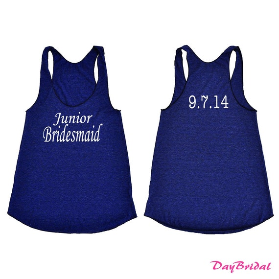 Junior Bridesmaid Tank Top With Personalized Date.Bridesmaid Shirt.Bride Gift.Maid Of Honor.Bridal Party Shirt.Bachelorette Tanks Shirts