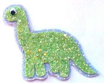 Quirky Cute Kitsch Glittery Dinosaur Hair Clip or Brooch