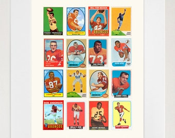 Denver Broncos - Broncos Poster - Broncos Football - Broncos Wall Art - Vintage Football Card Collage - Football Poster - Football Art