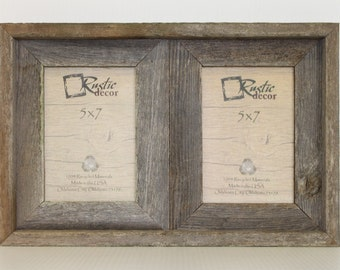 5x7 2 wide rustic barn wood double opening frame - Double 8x10 Frame