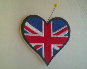 Embroidery Iron-on Patch Union Jack Heart Flag