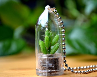 Coral Cactus Live Terrarium Necklace / Terrarium Jewelry / Nature Necklace / Cactus Plant / Girlfriend Gift