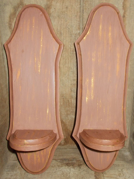 Oak Wall Sconces For Candles : Items similar to Wooden Wall Sconces Brown Candle Holders Display Shelves on Etsy