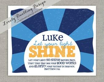 Let Your Light Shine Name Print, Matthew 5:16 - 8x10