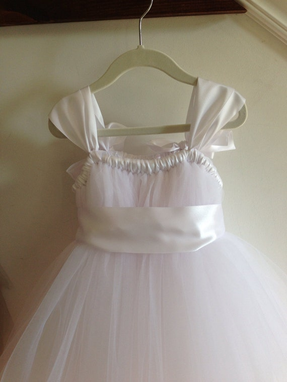 White tulle flower girl dress NB12girls by HadandHarps on Etsy