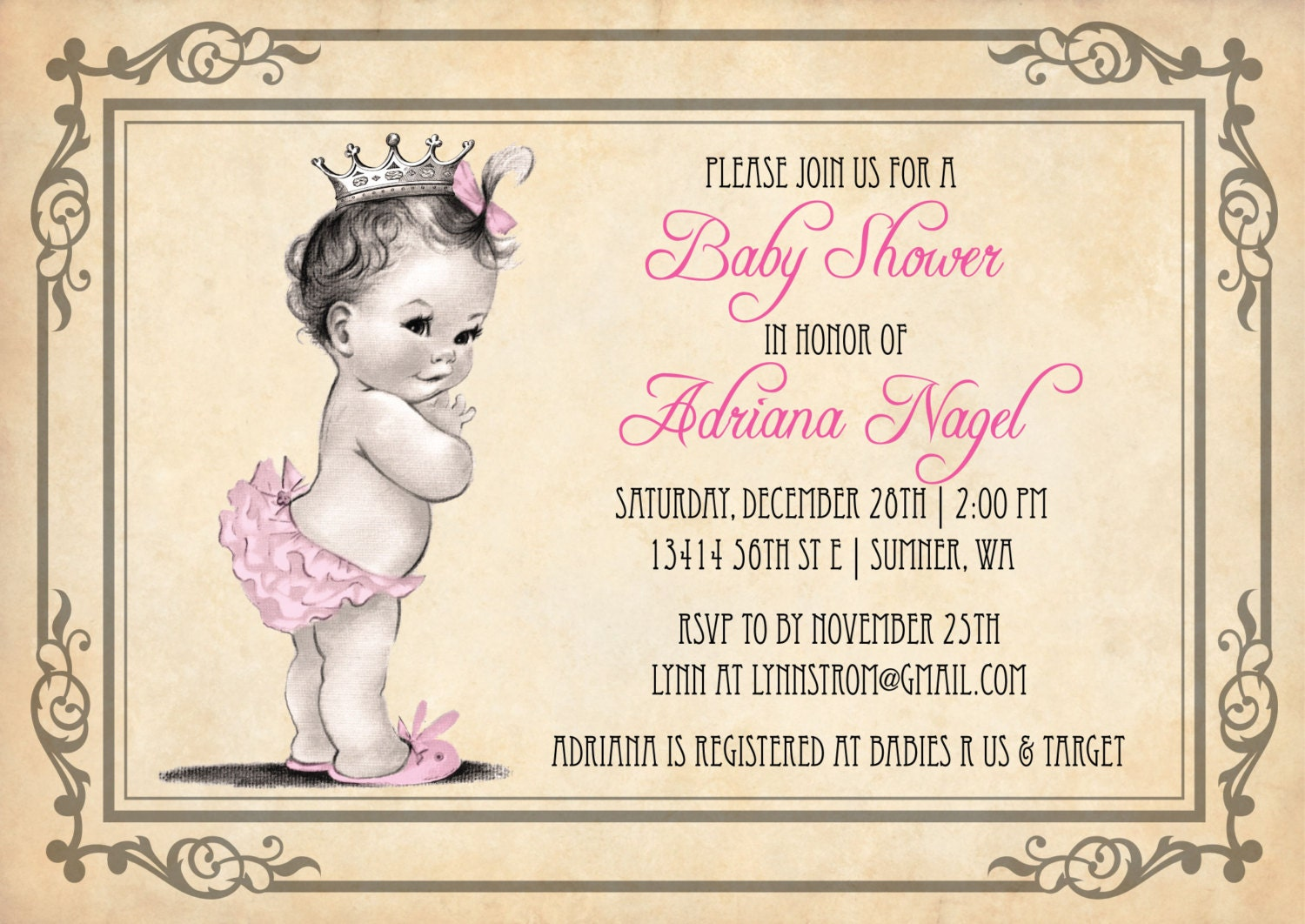 princess baby shower invitation girl vintage princess baby