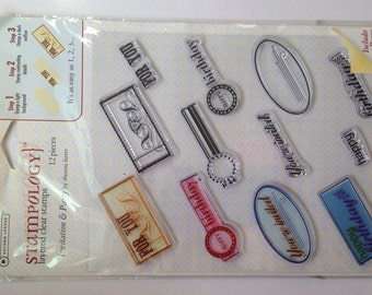 New - 12 Pc. Layered Clear Stamp Set By Stampology-- Invitation and Party