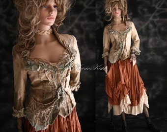 Bohemian Artistic Hand Dyed Linen Jacket with Raw Edged Frills and Laces Made to Order