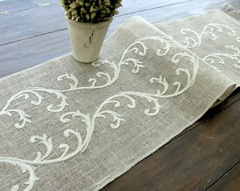 Embroidered Table Runner -  Wedding Table Linens- Romantic  Vintage Gold Valentines Table Decor , handmade in the USA