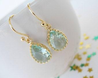 Clear green teardrop earrings Small Teardrop Earrings Erinite earrings prasiolite earrings Greem Bridesmaids earrings gold and green earring