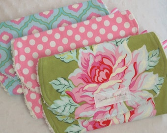 Baby Burp Cloths - Set of Three - lime green, pink, and turquoise
