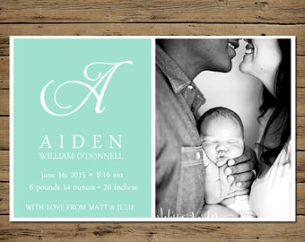 Custom Baby Boy Birth Announcement - Printable Custom Photo Birth Card - Simply Sophisticated